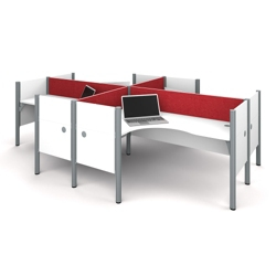 "Four L-Desks with 43""H Tack Board Panels, 14452"