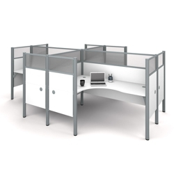 "Four Person L-Shaped Workstation with 12 55.5""H Acrylic Privacy Panels, 13228"