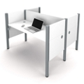 "Double Face-to-Face Workstation with Five 43""H Privacy Panels, 13230"