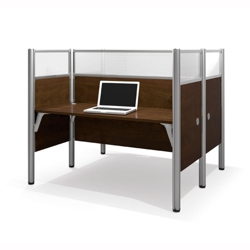 "Double Face-to-Face Workstation with Five 55.5""H Acrylic Privacy Panels, 13232"