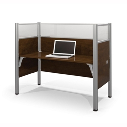 "Single Workstation with Three 55.5""H Acrylic Panels, 13234"