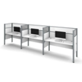 "Triple Workstation with Seven 55.5""H Acrylic Privacy Panels, 13236"