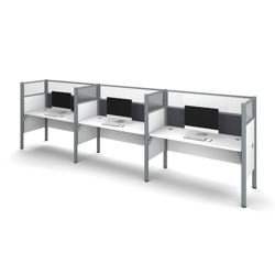 "Triple Workstation with 55.5""H Tack Board Panels, 14459"