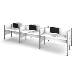 "Six Person Workstation with 11 43""H Privacy Panels, 13237"