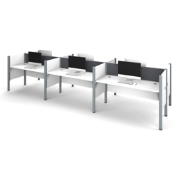 "Six Person Workstation with 43""H Tack Board Panels, 14460"