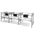 "Six Person Workstation with 11 55.5""H Acrylic Privacy Panels, 13238"