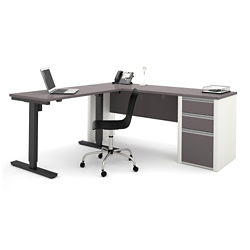 "Reversible L-Desk with Adjustable Height Return - 71.125""W, 14781"