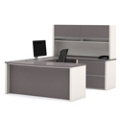 Compact Bowfront U-Desk with Hutch, 15978