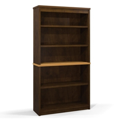 "65.9""H Five Shelf Two-Tone Bookcase, 32970"