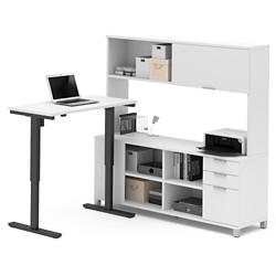 "Adjustable Height L-Desk with Hutch - 71""W, 14497"