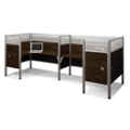 "Two Person Back-to-Back L-Desk Station with Seven 55.5""H Acrylic Dividers, 13224"