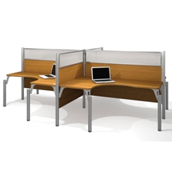 "Four Person L-Shaped Workstation with Four 55.5""H Acrylic Privacy Panels, 13226"