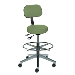 Armless Vacuum-Formed Vinyl Task Stool with Backrest, 26708