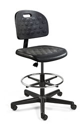 "Armless Polyurethane Stool with Footrest - 19""-27""H, 51787"