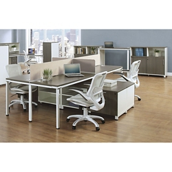 "Element 59""W Four Person Workstation with Wall Storage , 10247"