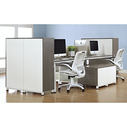 "Element 59""W Four Person Workstation with Wardrobe Storage, 10248"
