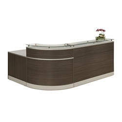 "Esquire Glass Top Reception Desk - 79""W x 63""D, 10327"