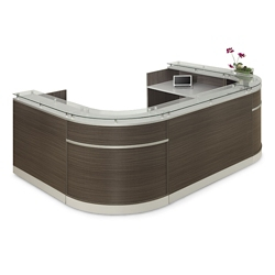 "Esquire Glass Top U-Shaped Reception Desk - 126""W x 94""D, 10328"
