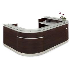 "Esquire Glass Top U-Shaped Reception Desk - 126""W x 79""D, 10329"