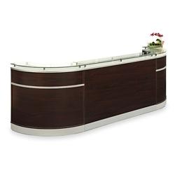 """Esquire Glass Top Arc Shaped Reception Desk - 126""""W x 32""""D, 10347"""