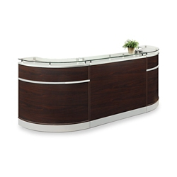 "Esquire Glass Top Compact Arc Shaped Reception Desk - 110""W x 32""D, 10348"
