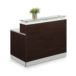 "Esquire Glass Top Reception Desk - 63""W x 32""D, 10352"