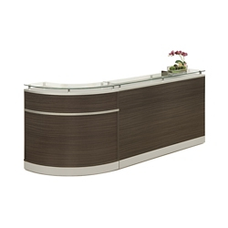 "Esquire Glass Top Single Curve Reception Desk - 96""W x 31""D, 10353"