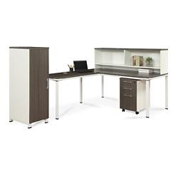"Element 72""W L-Desk with Hutch, Pedestal and Wardrobe Storage, 14848"
