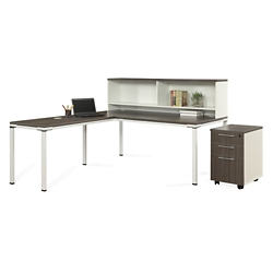 "Element 72""W L-Desk with Hutch and Mobile Pedestal, 14849"