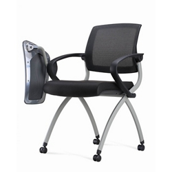 Nex Mesh Back Polyurethane Nesting Chair With Tablet Arm And Casters 51660