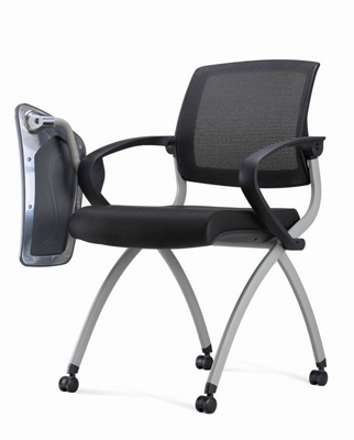 Genial Nex Mesh Back Polyurethane Nesting Chair With Tablet Arm And Casters, 51660