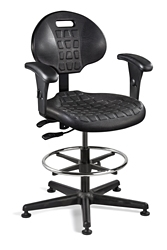 """Polyurethane Stool with Arms and Footrest -19""""-26.5""""H, 51782"""