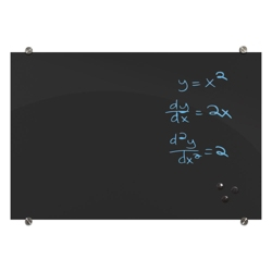 "48""Wx36""H Black Magnetic Markerglass Board, 80448"