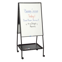 Mobile Double Sided Adjustable Height Porcelain Whiteboard Easel, 80528