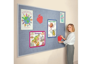 Vinyl Bulletin Board with Aluminum Frame 10'Wx4'H, 80869