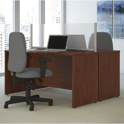 "Two-Person Desk with Privacy Screen - 60""W, 20035"