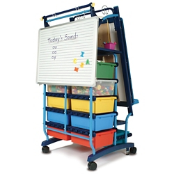 """Two Sided Teaching Easel with 19 Tubs - 30""""W x 64.5""""H, 81007"""