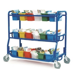 Library Cart with 18 Storage Tubs, 30659