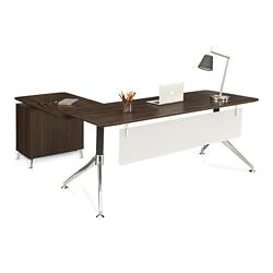 "Astoria Two-Tier L-Desk with Reversible Return - 71""W, 14431"