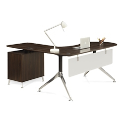 "Astoria  Executive Curved L-Desk with Right Return - 71""W, 14433"