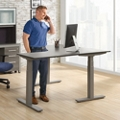 "At Work Adjustable Height L-Desk - 60""W x 60""D, 16091"