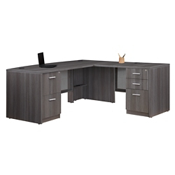 "At Work Bow Front L-Desk - 71""W x 77""D, 16314"