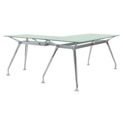 "Brilliant Glass Top L Desk - 71""Wx65""D, 16363"