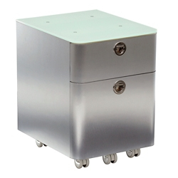 """Brilliant 17""""H Two Drawer Mobile Glass Top Mobile Pedestal, 34966"""