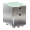 "Brilliant 17""H Two Drawer Mobile Glass Top Mobile Pedestal, 34966"