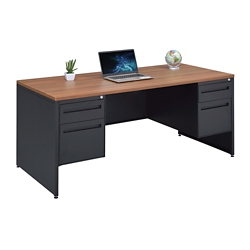 "Carbon Double Pedestal Laminate Top Steel Desk - 66""W x 30""D, 86538"