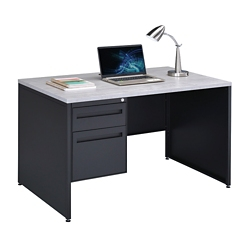 "Carbon Compact Single Pedestal Laminate Top Steel Desk 48""W x 30""D, 86536"