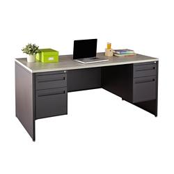 """Carbon Double Pedestal Laminate Top Steel Desk - 66""""W x 30""""D, 86538"""