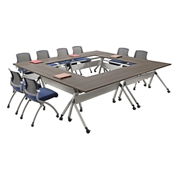 "At Work Set of Six Flip Top Training Tables 60""W x 24""D, 47010"