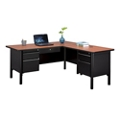 "Stahl Steel Double Pedestal L-Desk with Center Drawer - 66""W x 72""D, 16057"